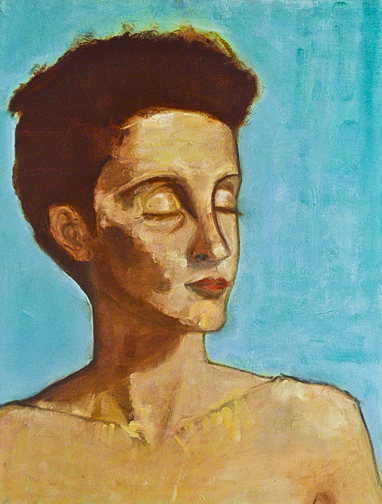 ariel oil painting bold turquoise and earthy brown tones.