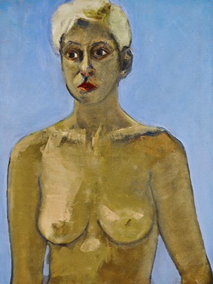 blonde oil painting. Lots of light blue, topless blond model.