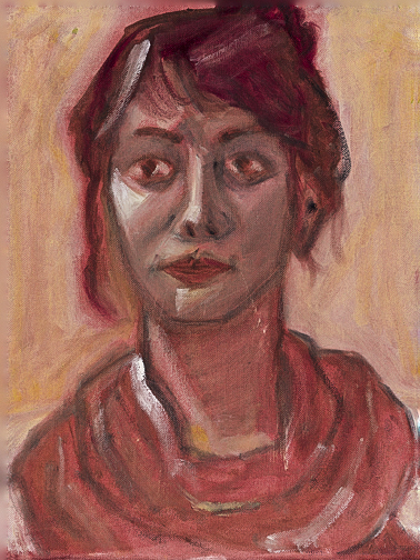 Portrait of Leslie in Red Paint